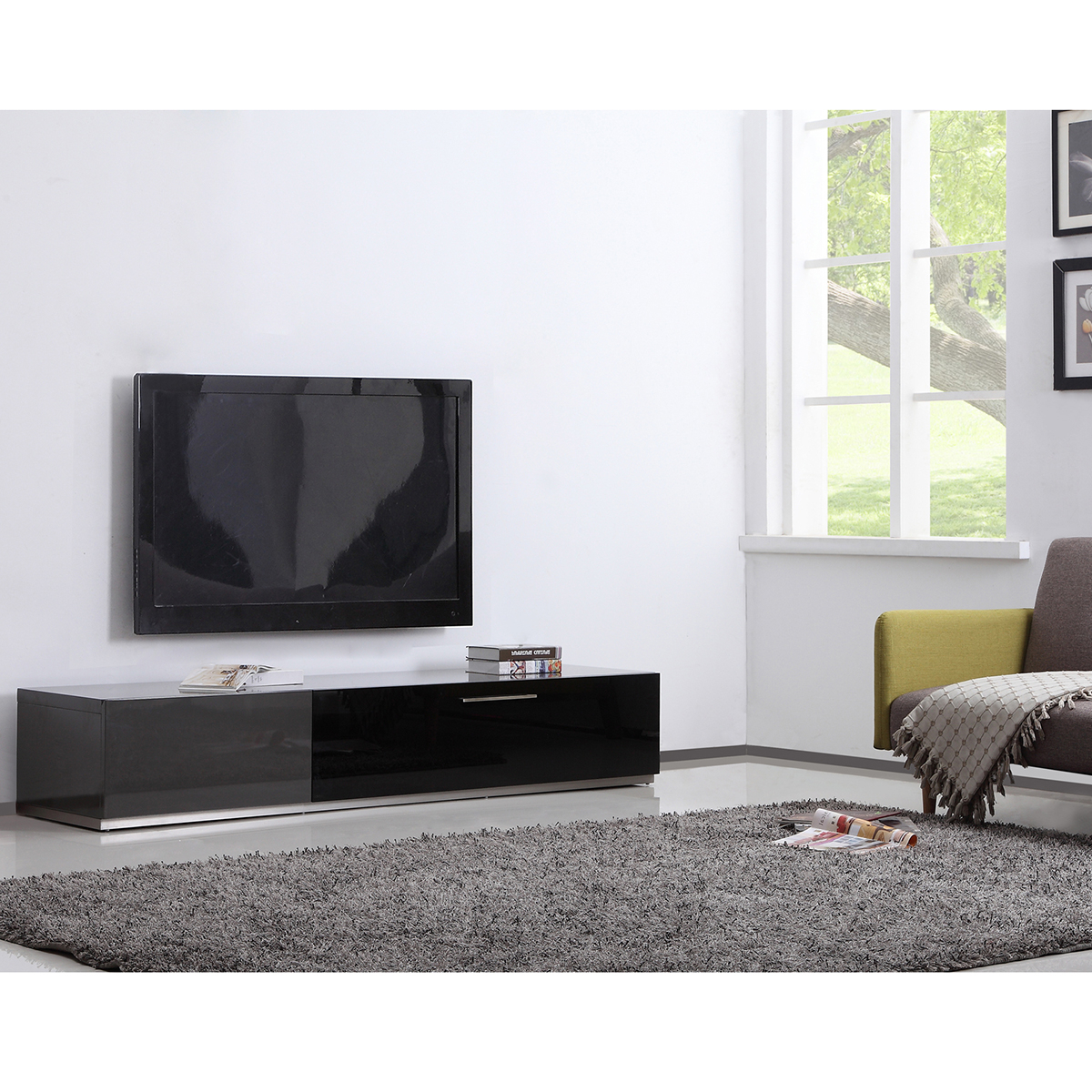 "B Modern Bm 150 Gry Producer 80"" Contemporary Tv Stand In Grey High With Regard To Newest Modern Contemporary Tv Stands (Gallery 15 of 20)"