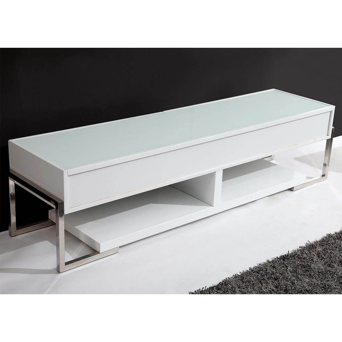 "B Modern Bm 650 Awht Agent 71"" Contemporary Tv Stand In White Regarding Preferred White Glass Tv Stands (View 2 of 20)"