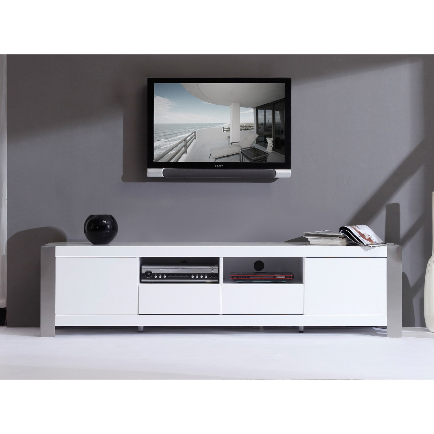 "B Modern Composer 79"" High Gloss White Tv Stand – Bm 100 Wht (Gallery 8 of 20)"