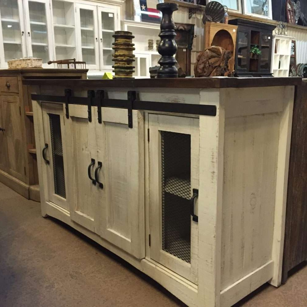 Barn Door Cabinet Tv Stand White Distressed Brown Top (View 1 of 20)