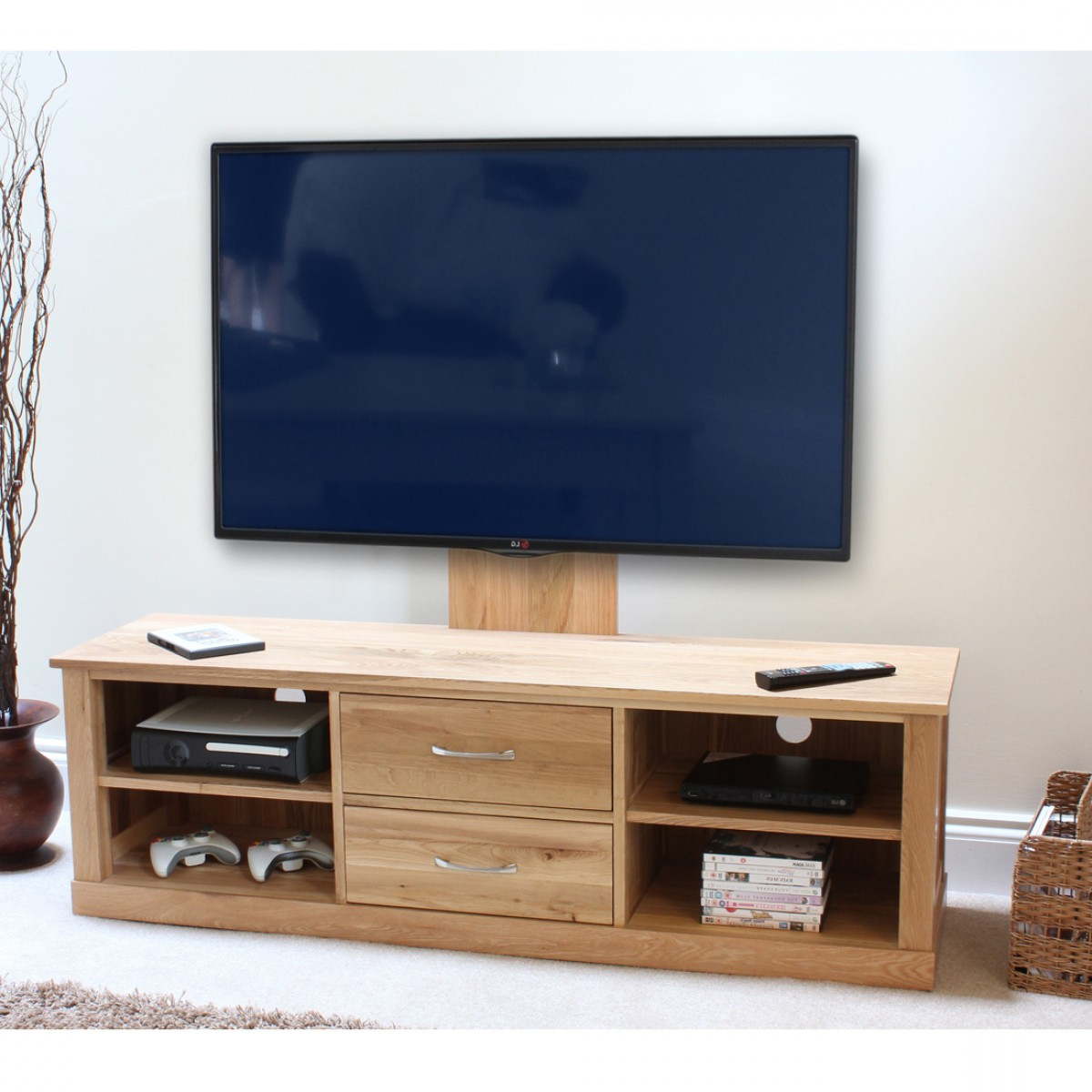 Baumhaus Mobel Oak Widescreen Tv Cabinet & Mounted Adjustable With Preferred Oak Widescreen Tv Units (View 10 of 20)
