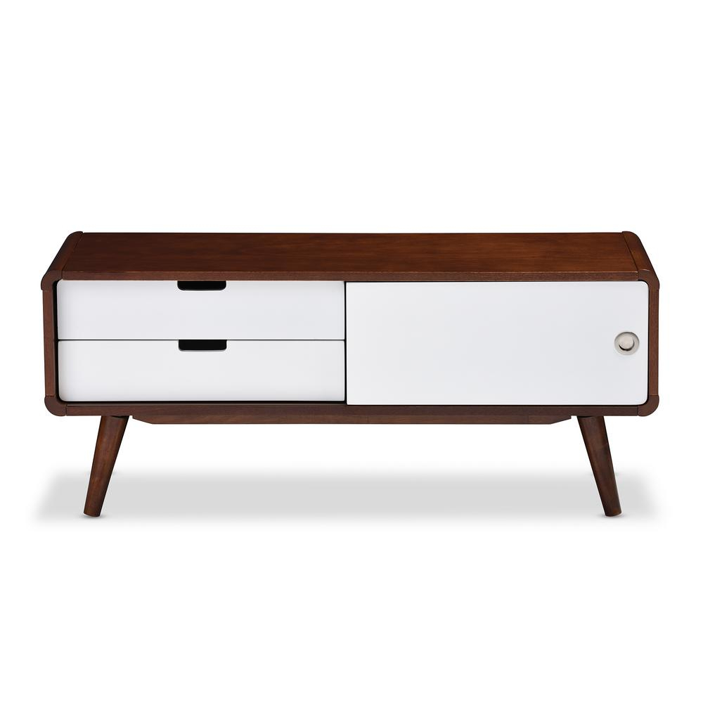 Baxton Studio Armani White And Medium Brown Wood Finished Wood Tv Within Trendy White And Wood Tv Stands (Gallery 11 of 20)