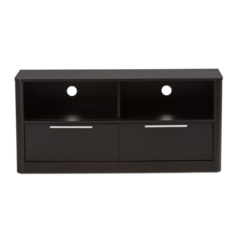 Baxton Studio Carlingford Dark Brown 2 Drawer Tv Stand 28862 7971 Hd Intended For Well Liked Black Tv Stands With Drawers (View 5 of 20)