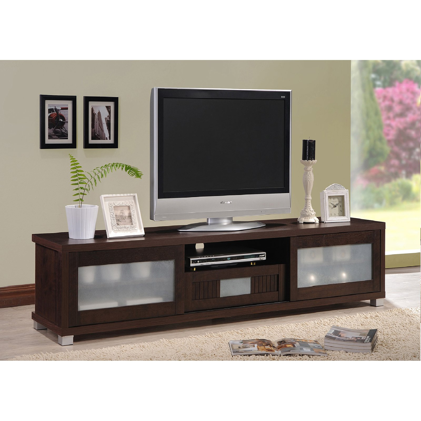 Baxton Studio Gerhardine Dark Brown Wood 70 Inch Tv Cabinet With 2 Inside Most Up To Date Wenge Tv Cabinets (View 10 of 20)