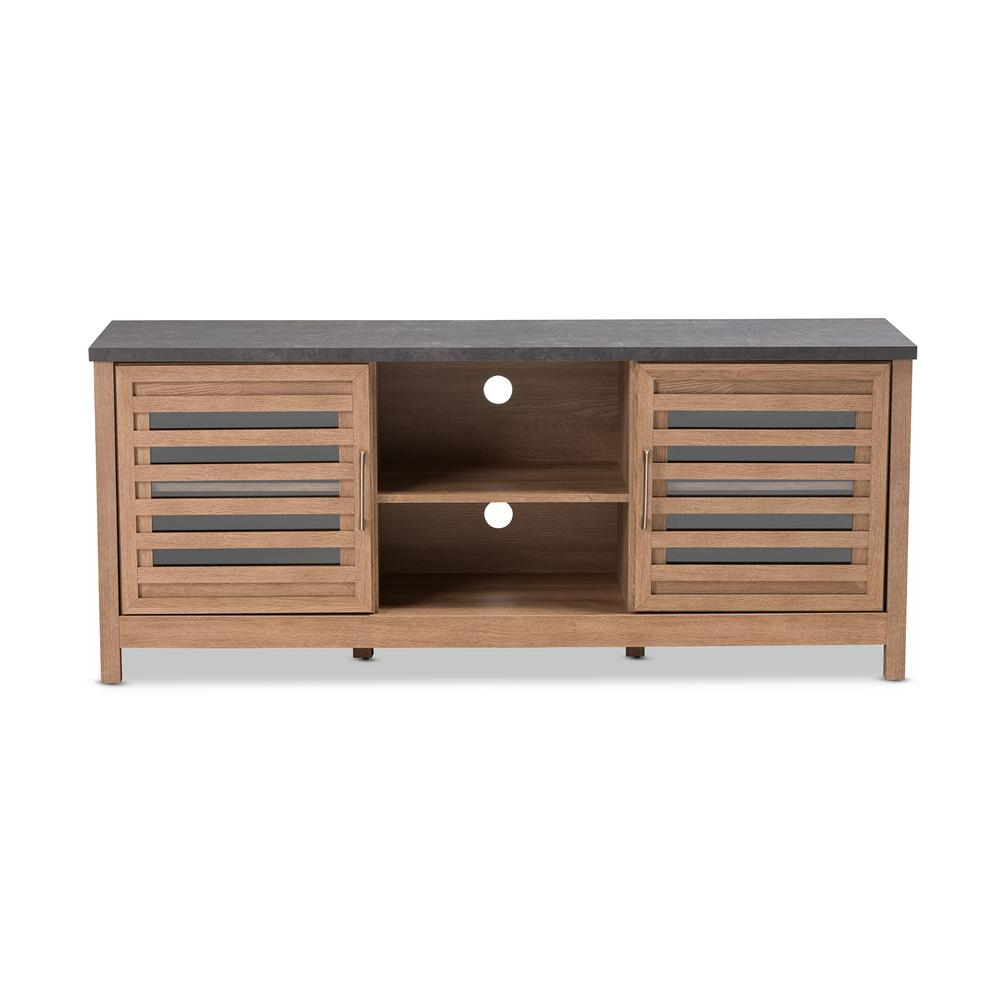 Baxton Studio Pacific Light Brown Tv Stand 28862 8017 Hd – The Home Inside Best And Newest Oak Veneer Tv Stands (View 1 of 20)