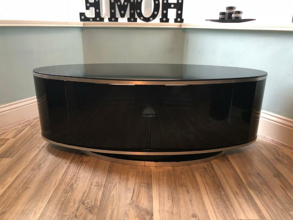 Beam Thru Tv Cabinets Intended For Trendy Luna Gloss Black Oval Swivel Tv Cabinet – Beam Through Technology (View 2 of 20)