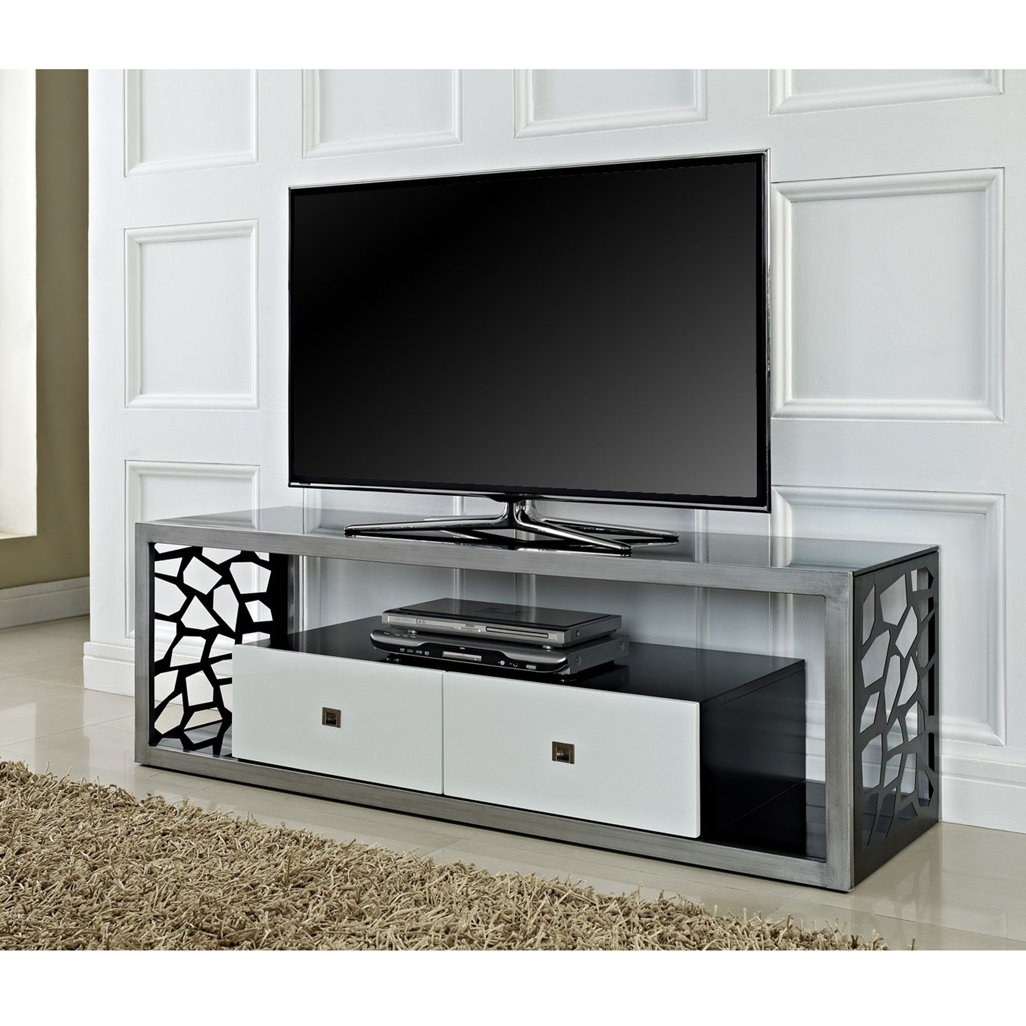"Beautiful 60"" Mosaic Tv Stand, Brushed Silver Frame With White With Regard To Newest Silver Tv Stands (View 2 of 20)"