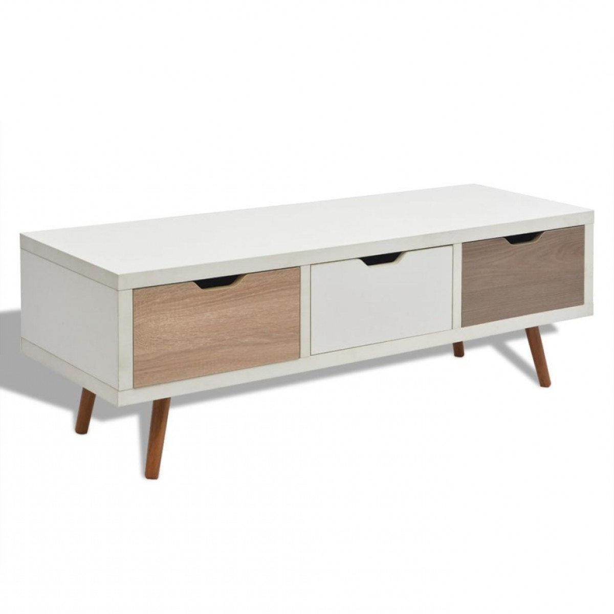 Beech Tv Stands Within Favorite Modern White Beech 3 Drawer Tv Stand Cabinet – Home Done (View 14 of 20)