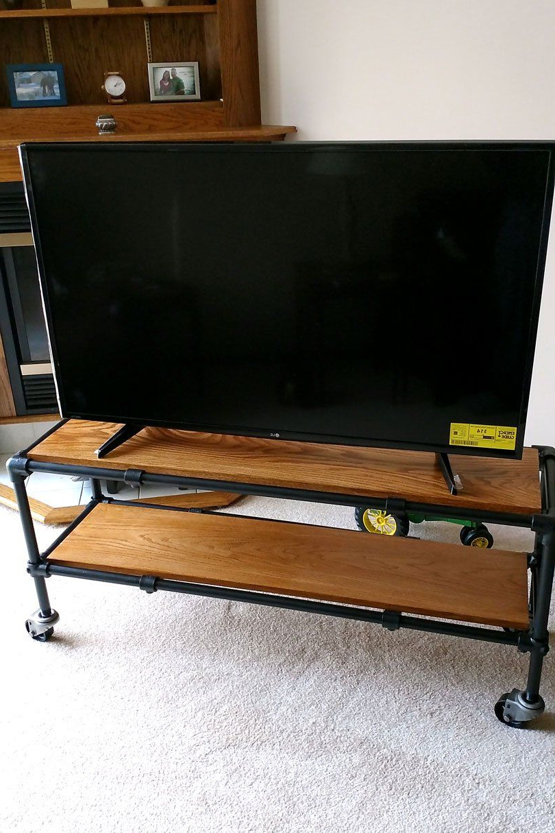Bench Tv Stands With Regard To Latest Diy Rolling Industrial Pipe Tv Stand (View 6 of 20)