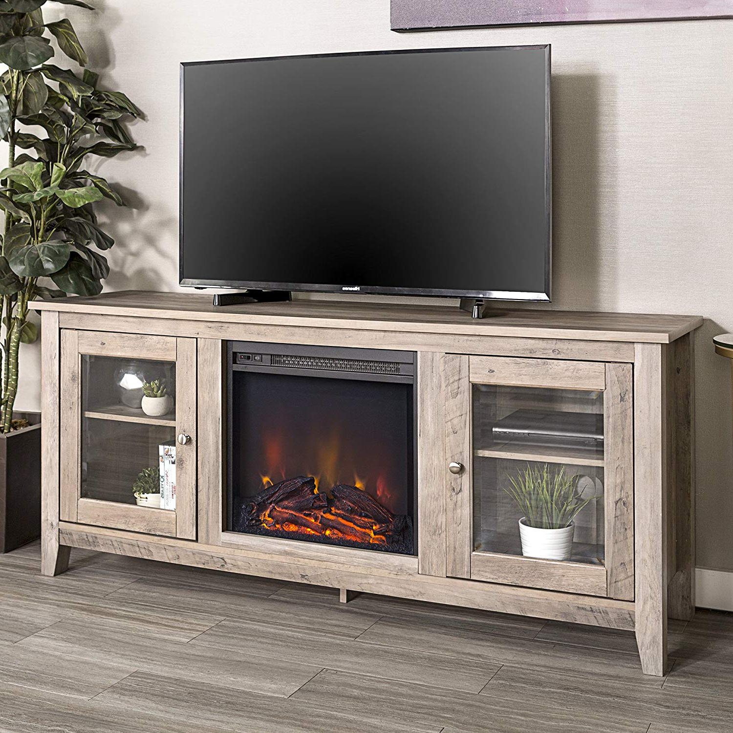"Best And Newest Amazon: We Furniture 58"" Wood Media Tv Stand Console With Intended For Casey Grey 66 Inch Tv Stands (View 4 of 20)"