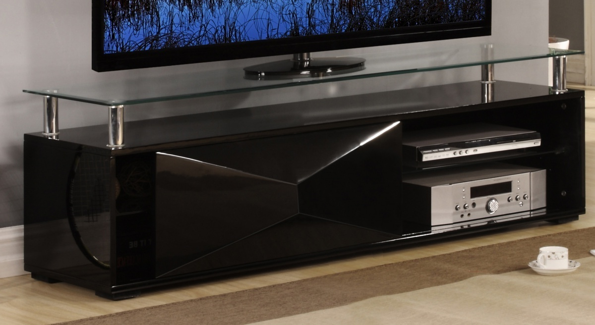 Best And Newest Black High Gloss Television Unit With Glass Top – Homegenies Regarding Black Gloss Tv Cabinets (View 2 of 20)