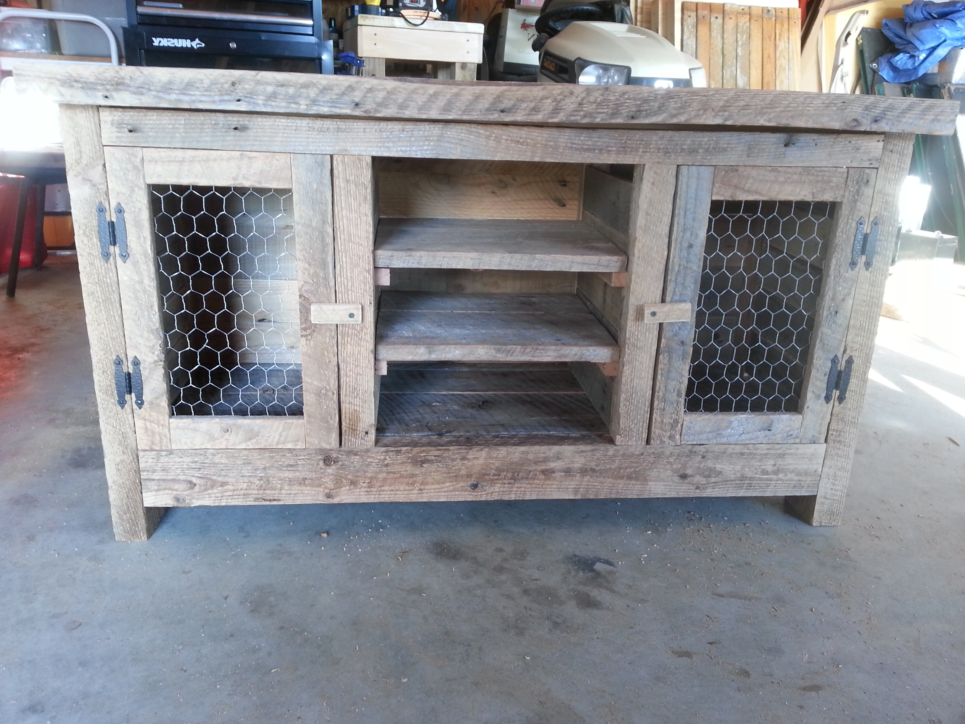 Best And Newest Built A Tv Stand Out Of Reclaimed Barn Wood And Recycled Pallets Throughout Recycled Wood Tv Stands (View 2 of 20)