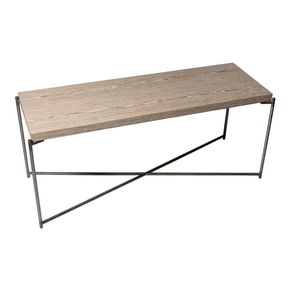 Best And Newest Buy Weathered Oak Console Media Table & Gunmetal Base At Fusion Living Regarding Gunmetal Media Console Tables (View 4 of 20)