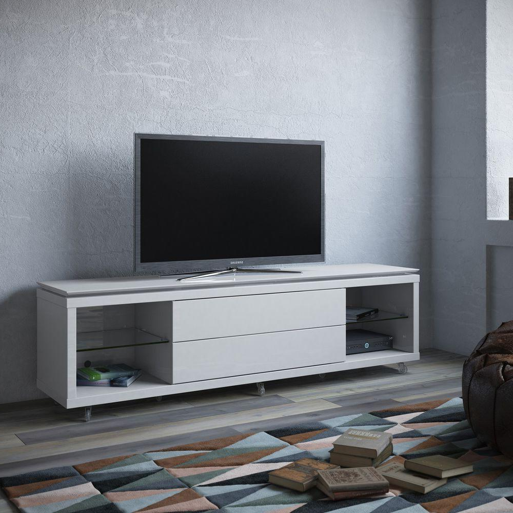 Best And Newest Cream Gloss Tv Stands Intended For Manhattan Comfort Lincoln Nut Brown Storage Entertainment Center (View 9 of 20)