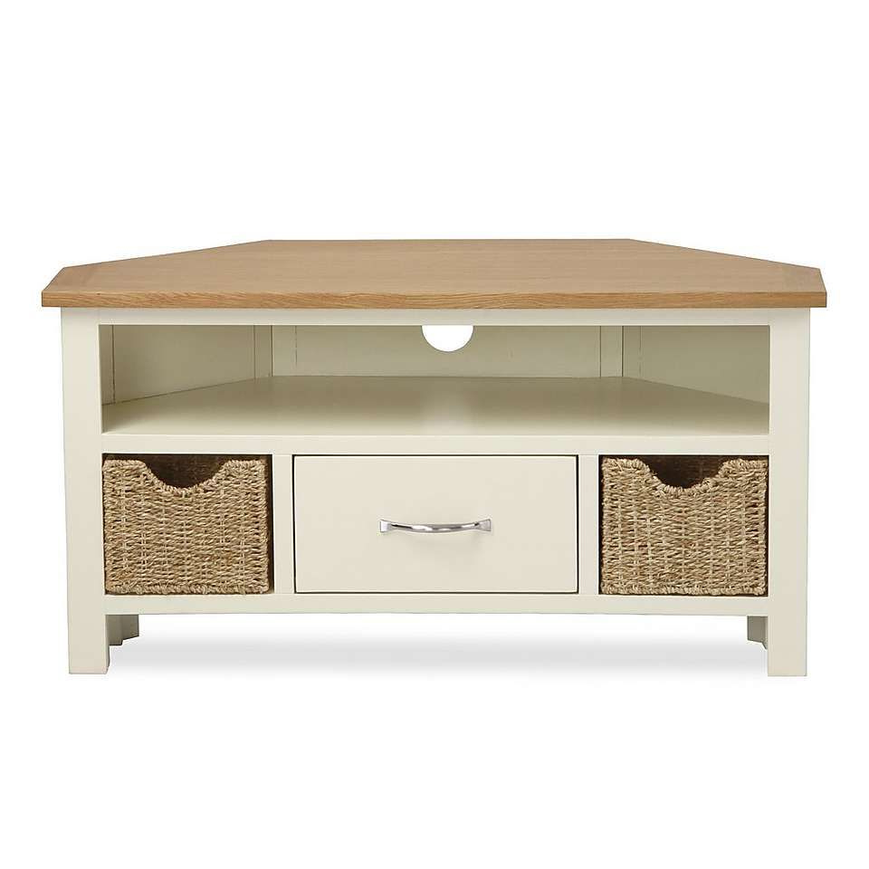 Best And Newest Cream Tv Cabinets Regarding Dunelm Sidmouth Contemporary Curved Cream Pine Wood Corner Tv Stand (View 3 of 20)