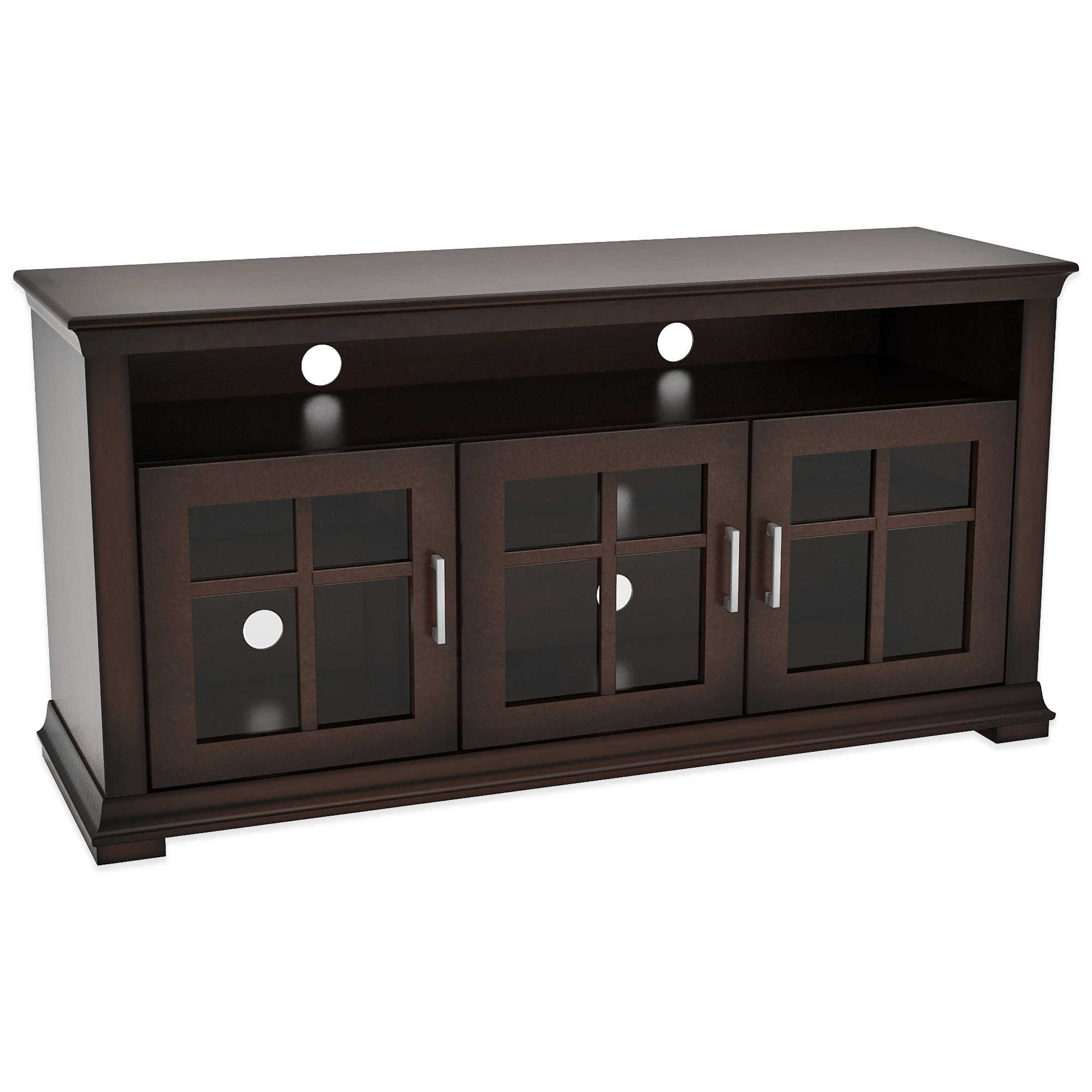 Best And Newest Dark Wood Tv Cabinet With Glass Doors (View 20 of 20)