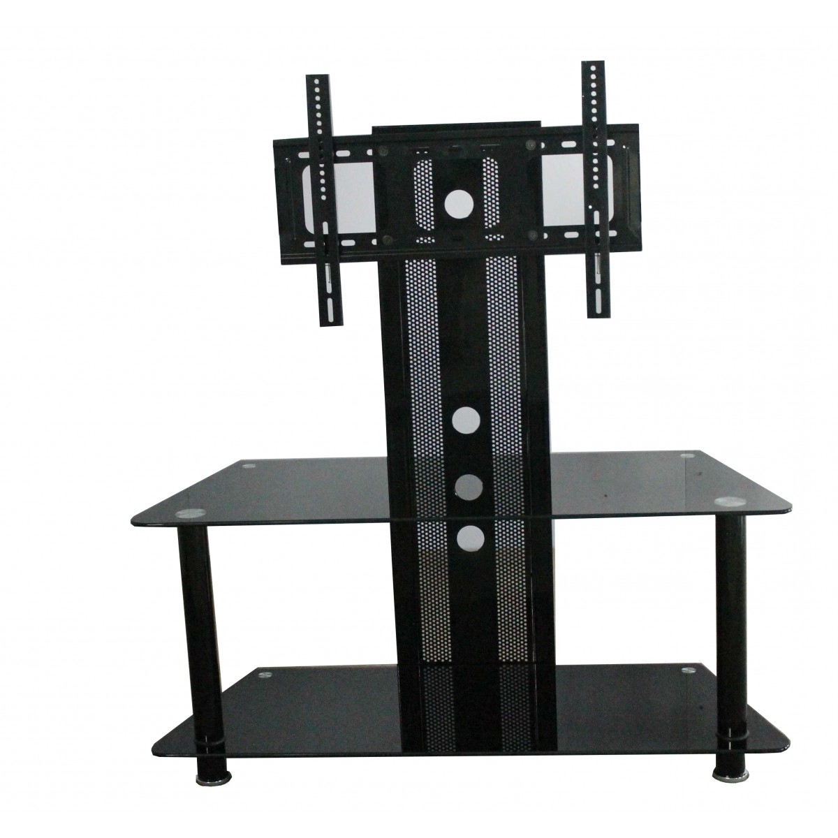 Best And Newest Denver 2 Shelf Black Glass Tv Stand With Bracket – Home Done Pertaining To Denver Tv Stands (View 2 of 20)