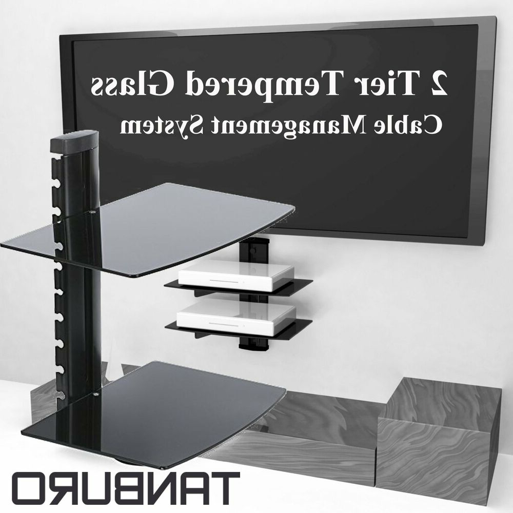 Best And Newest Floating Glass Tv Stands With Black Floating Glass Wall Mount Shelf Bracket Tv Stand Dvd Skybox (View 1 of 20)