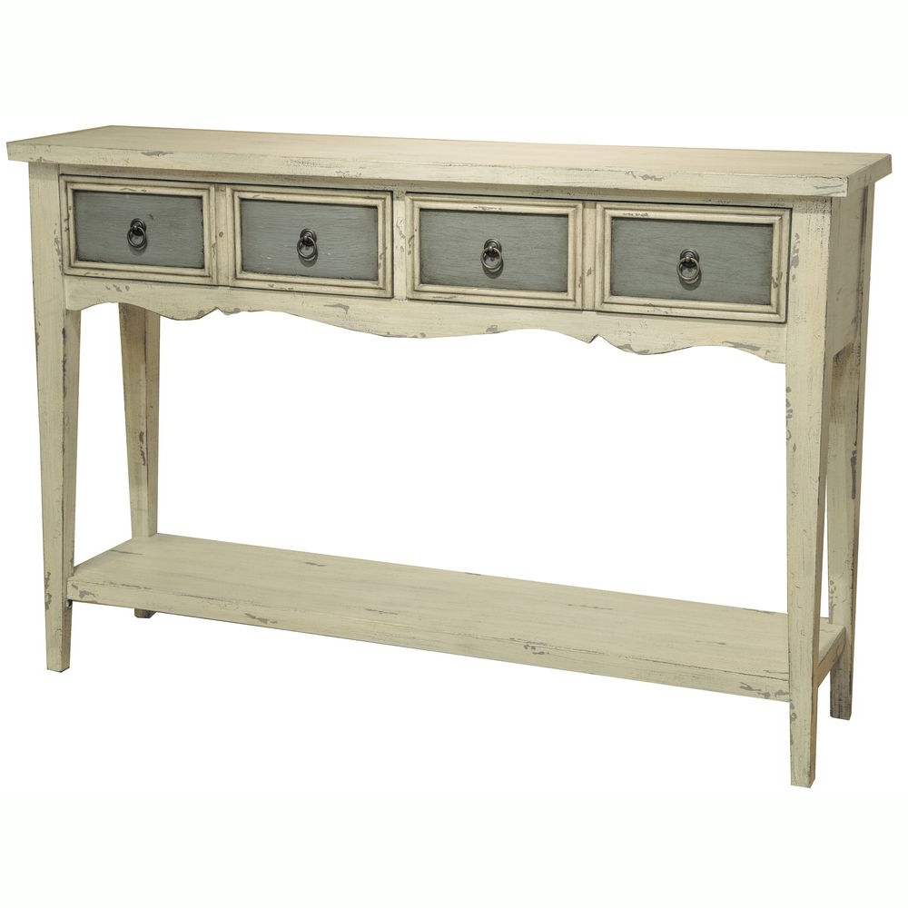 Best And Newest Hand Painted Distressed Antique White Finish Accent Console Table With Antique White Distressed Console Tables (View 5 of 20)
