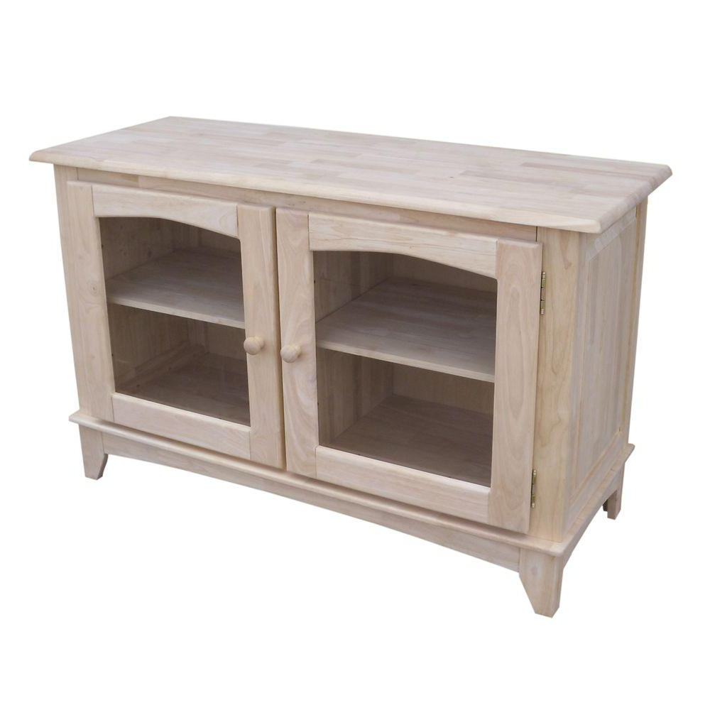Best And Newest International Concepts Unfinished Storage Entertainment Center Tv 42 Intended For Wooden Tv Stands With Glass Doors (View 2 of 20)
