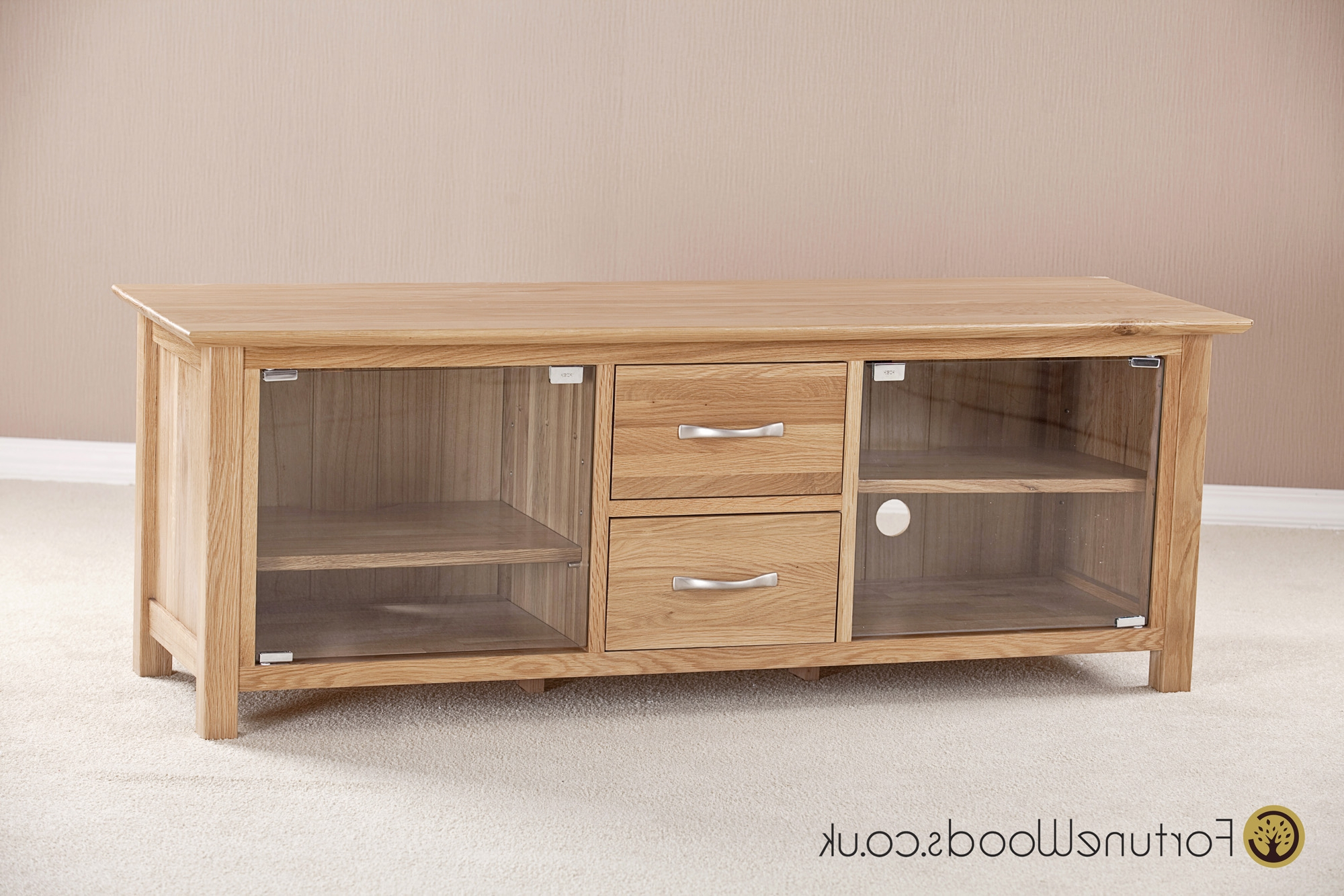 Best And Newest Large Tv Cabinets Inside Large Oak Tv Unit With Glass Doors (View 6 of 20)