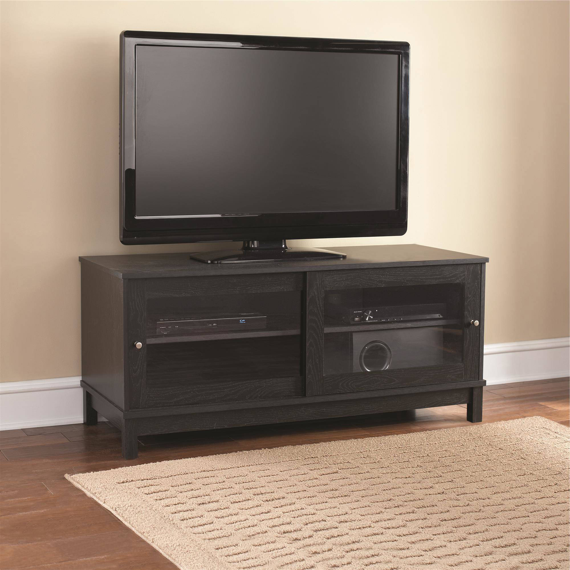 "Best And Newest Mainstays 55"" Tv Stand With Sliding Glass Doors, Multiple Colors Within Wooden Tv Stands For Flat Screens (View 3 of 20)"