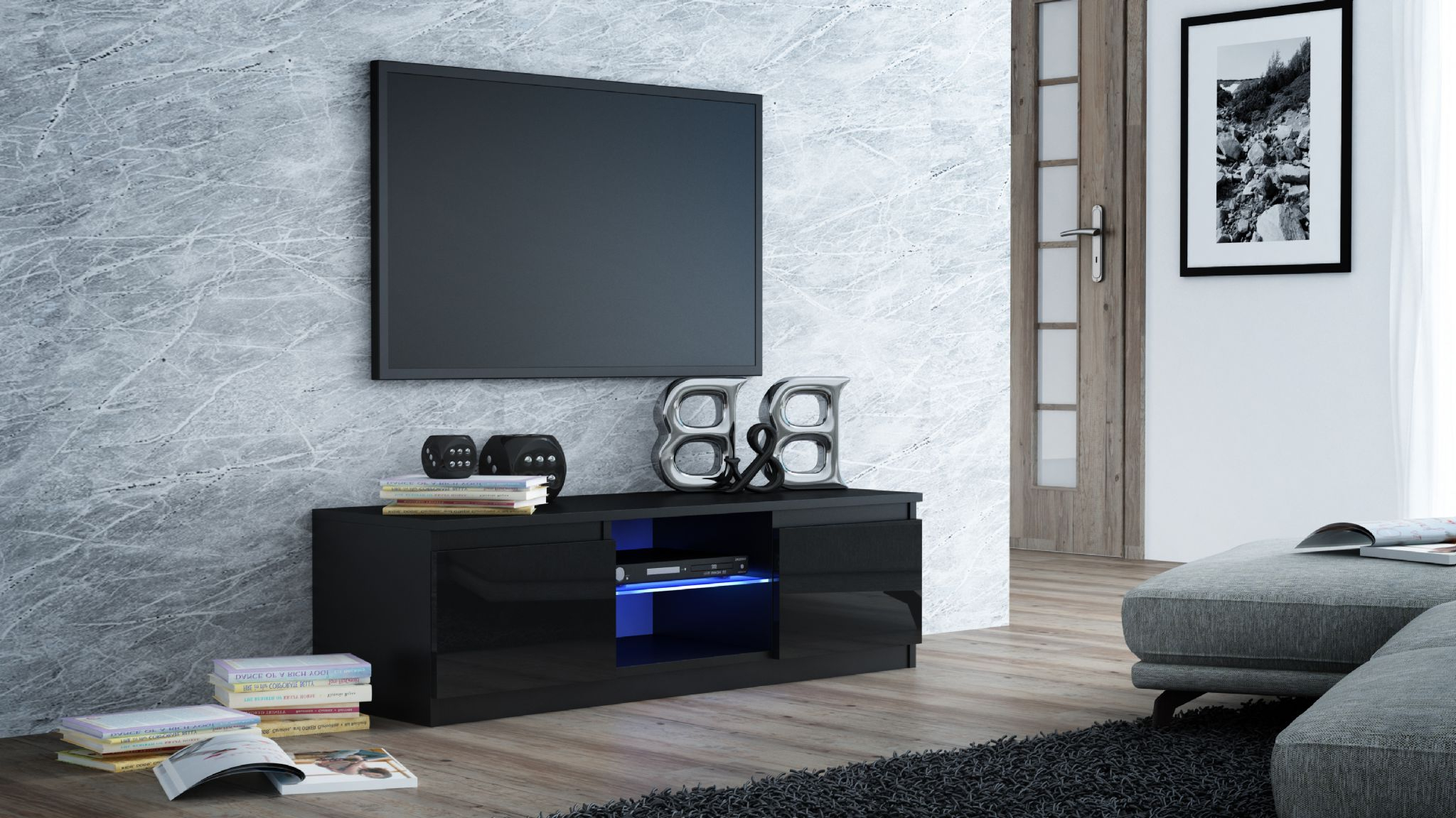 Best And Newest Milano Designer High Gloss Led Tv Stand Cabinet Black, White (View 15 of 20)