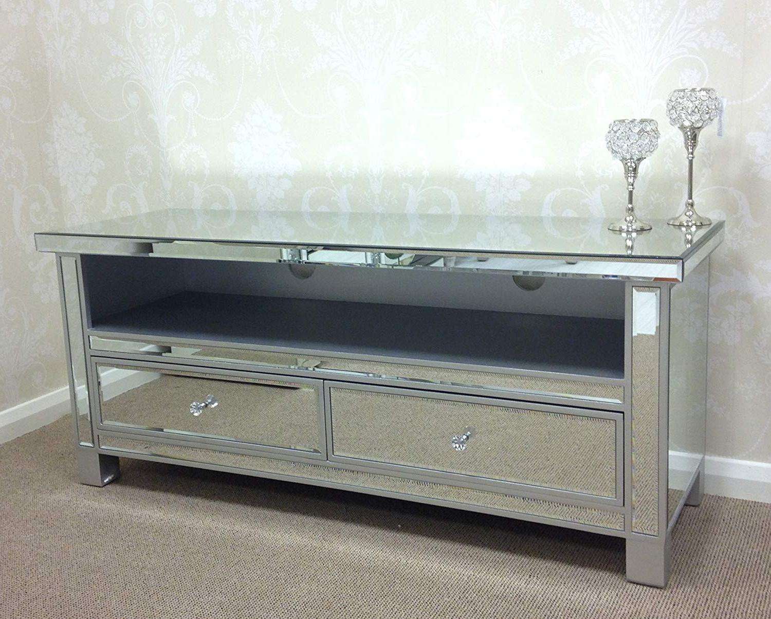 Best And Newest Mirrored Tv Stands For Glamorous Long Mirrored Tv Stand Wood Cabinet Fireplace Inch (View 2 of 20)