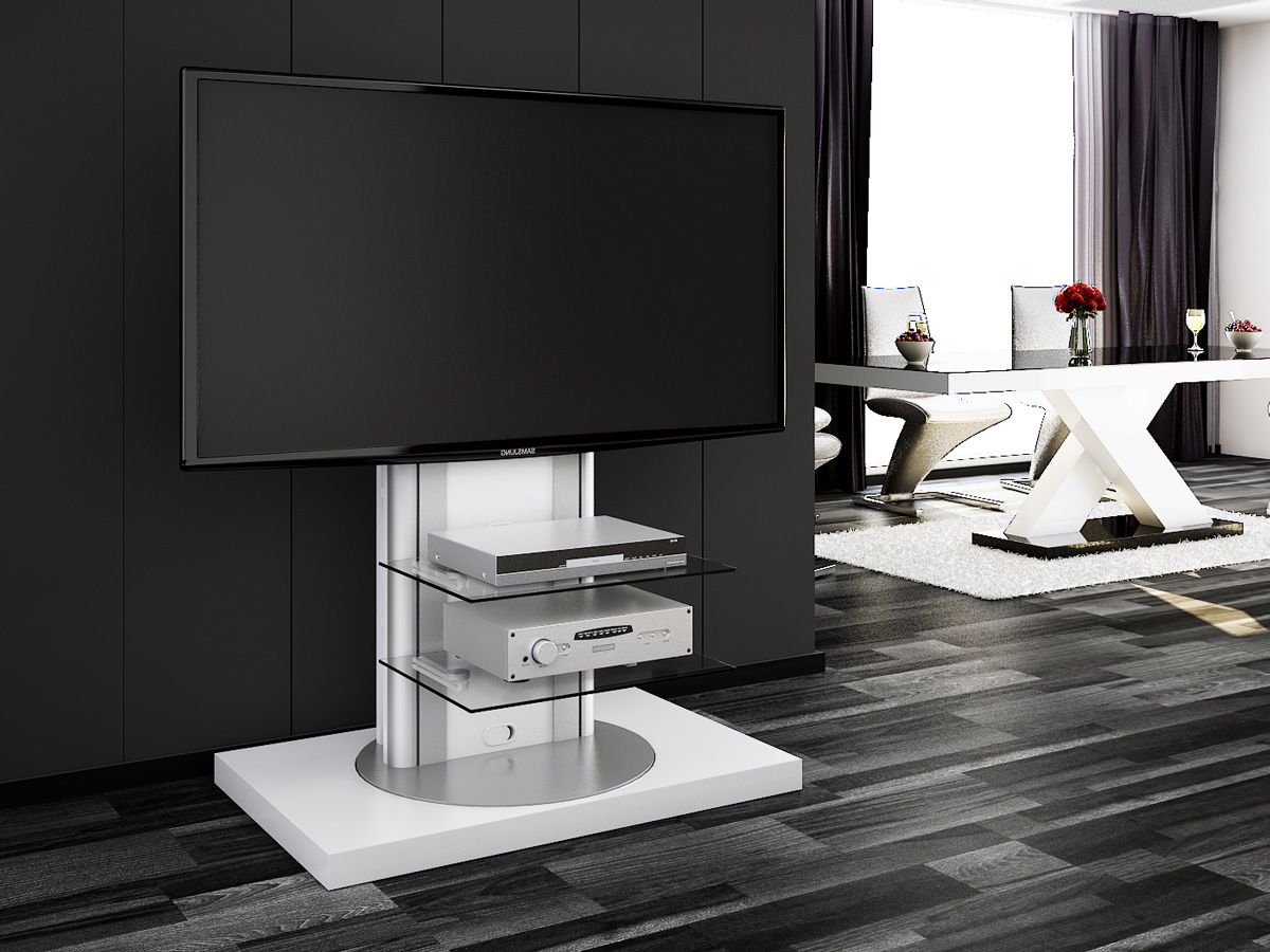 Best And Newest Modern White Gloss Tv Stands Within Roma White Swivel High Gloss Tv Stand (View 2 of 20)