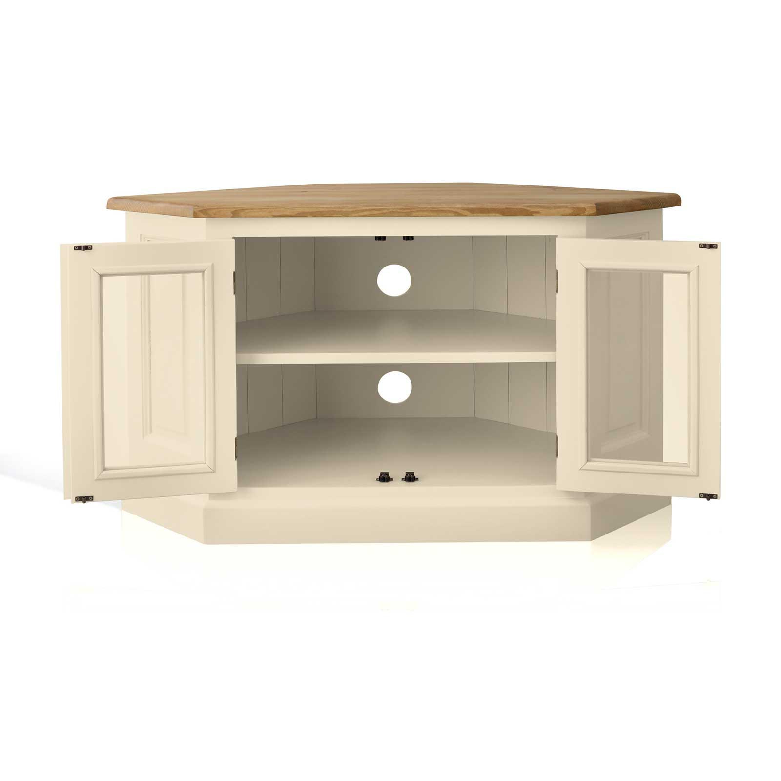 Best And Newest Mottisfont Painted Pine Corner Tv Unit With Glazed Doors For Painted Corner Tv Cabinets (View 2 of 20)