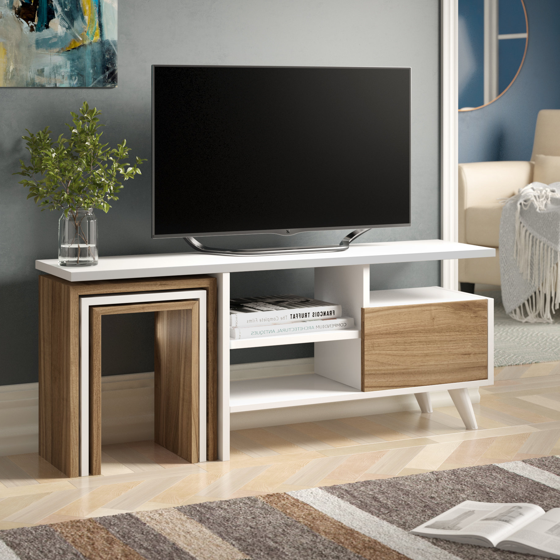 Best And Newest Natural 2 Door Plasma Console Tables Pertaining To Tv Stand With Side Tables (View 2 of 20)