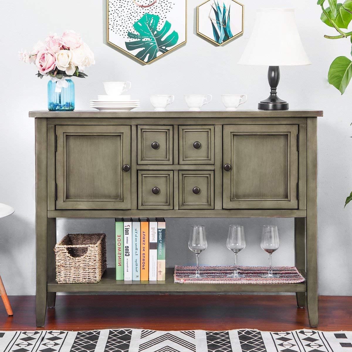 Best And Newest Noah Rustic White 66 Inch Tv Stands Regarding Amazon – Harper&bright Designs Acacia Mangium Sideboard Console (View 12 of 20)