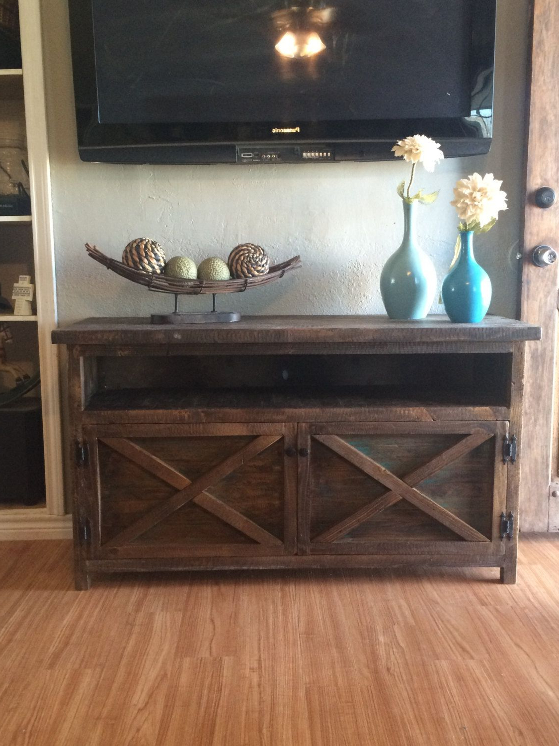 Best And Newest Rustic Tv Solid Wood Entry Way Tabletherusticmillhouse On Etsy Intended For Rustic Tv Stands (Gallery 16 of 20)