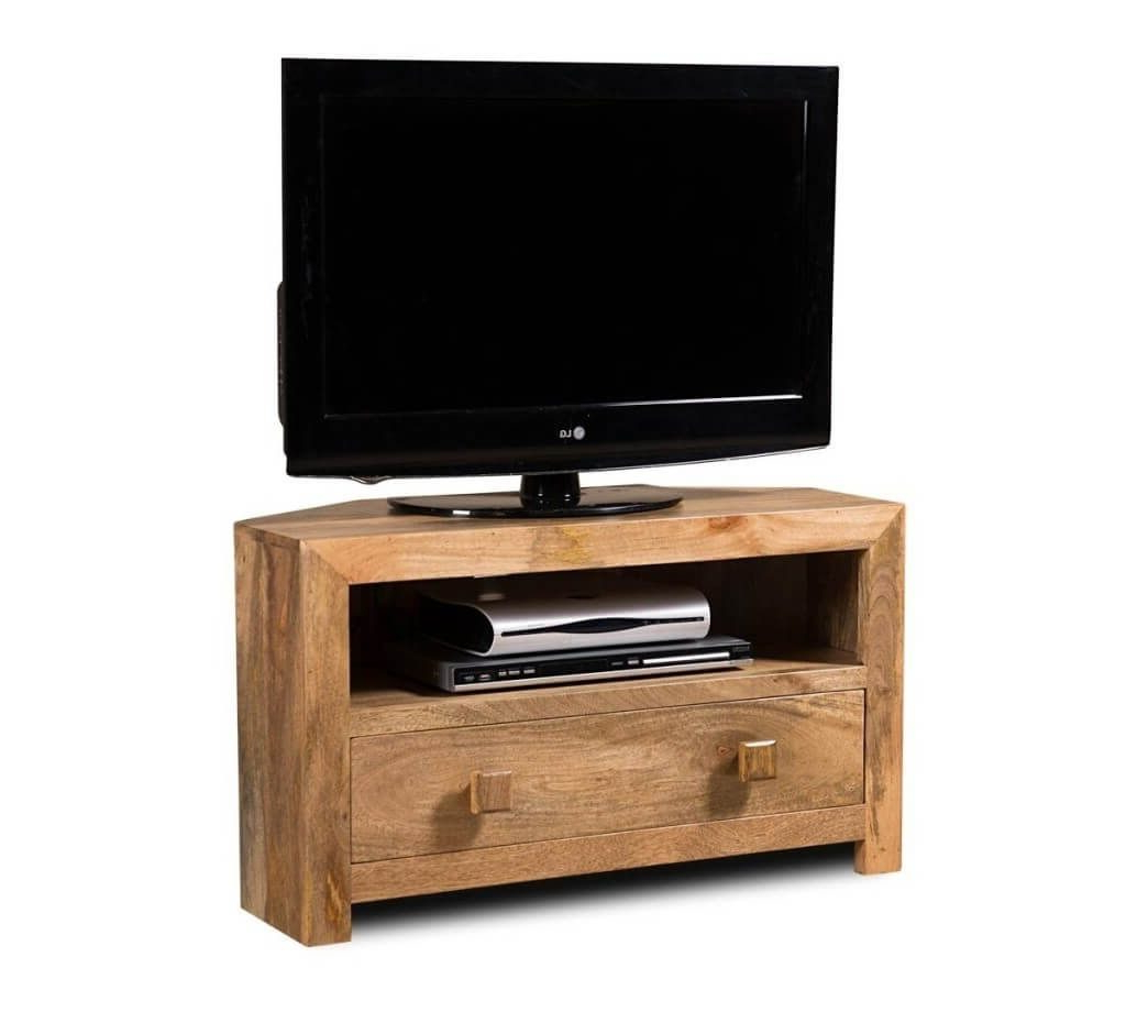 Best And Newest Single Tv Stands With Furniture: Half Hexagon Wooden Small Corner Tv Stand With Single (View 1 of 20)