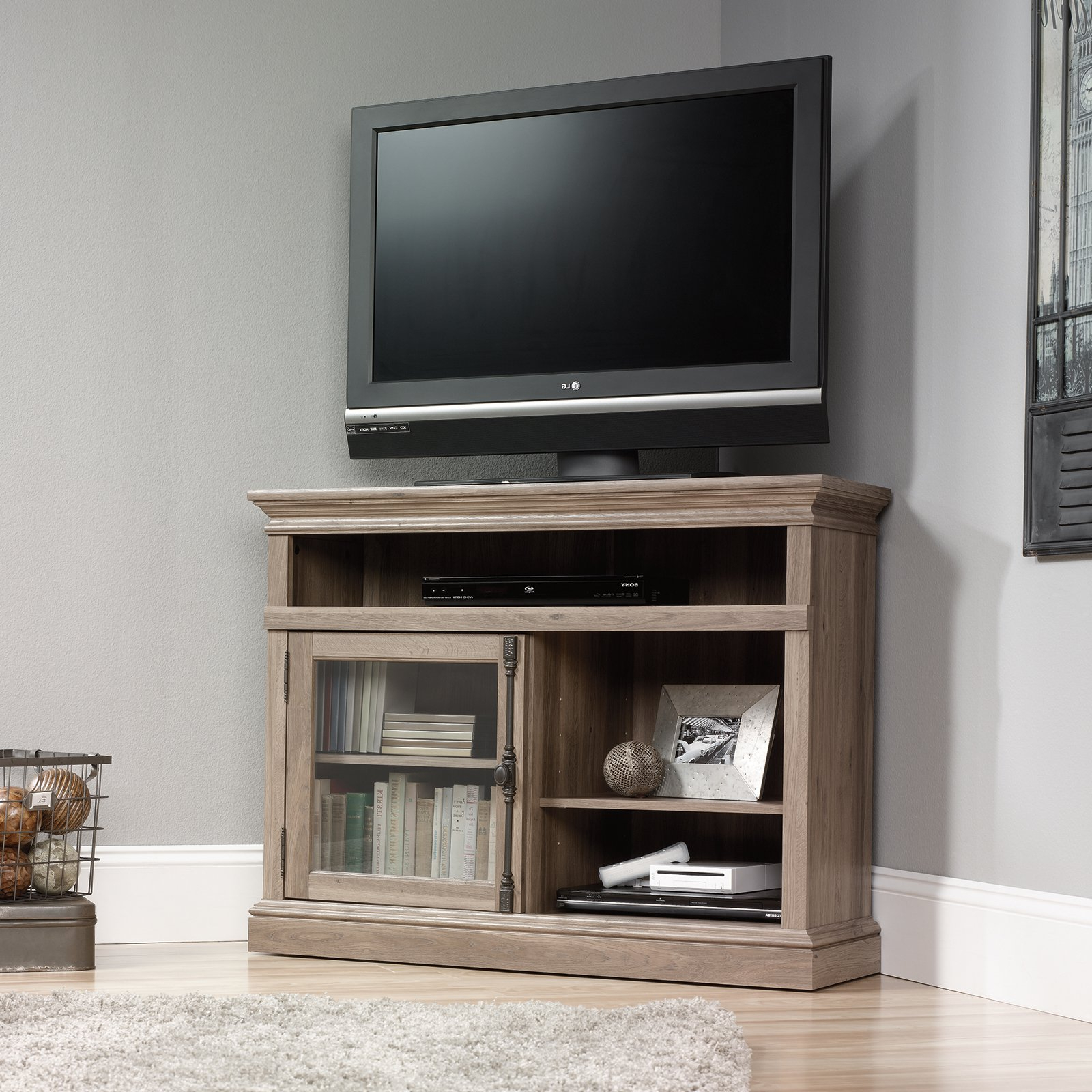 Best And Newest Small Oak Corner Tv Stands Within Tall Corner Tv Stand Amazing Sauder 42 In Barrister Lane Tv Salt Oak (View 2 of 20)