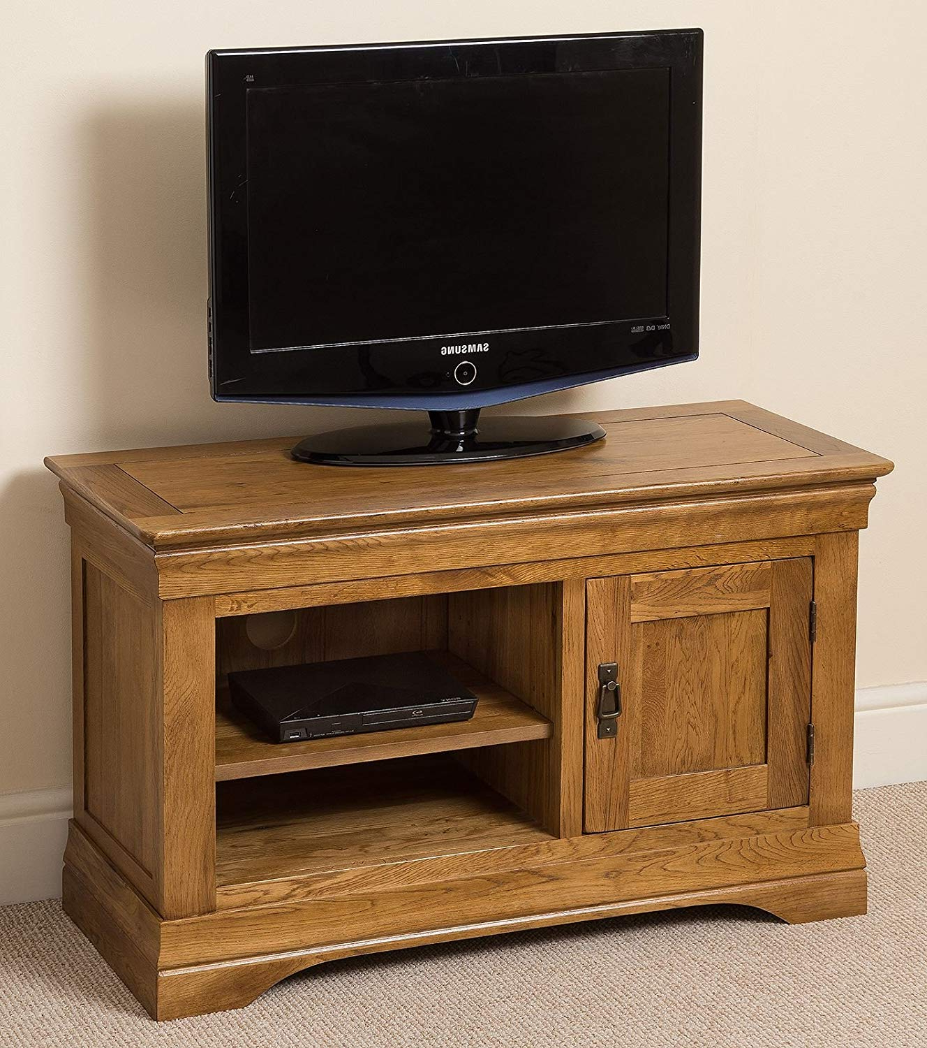 Best And Newest Small Tv Cabinets Pertaining To Oak Furniture King French Rustic Solid Oak Small Tv Unit Stand/dvd (View 2 of 20)