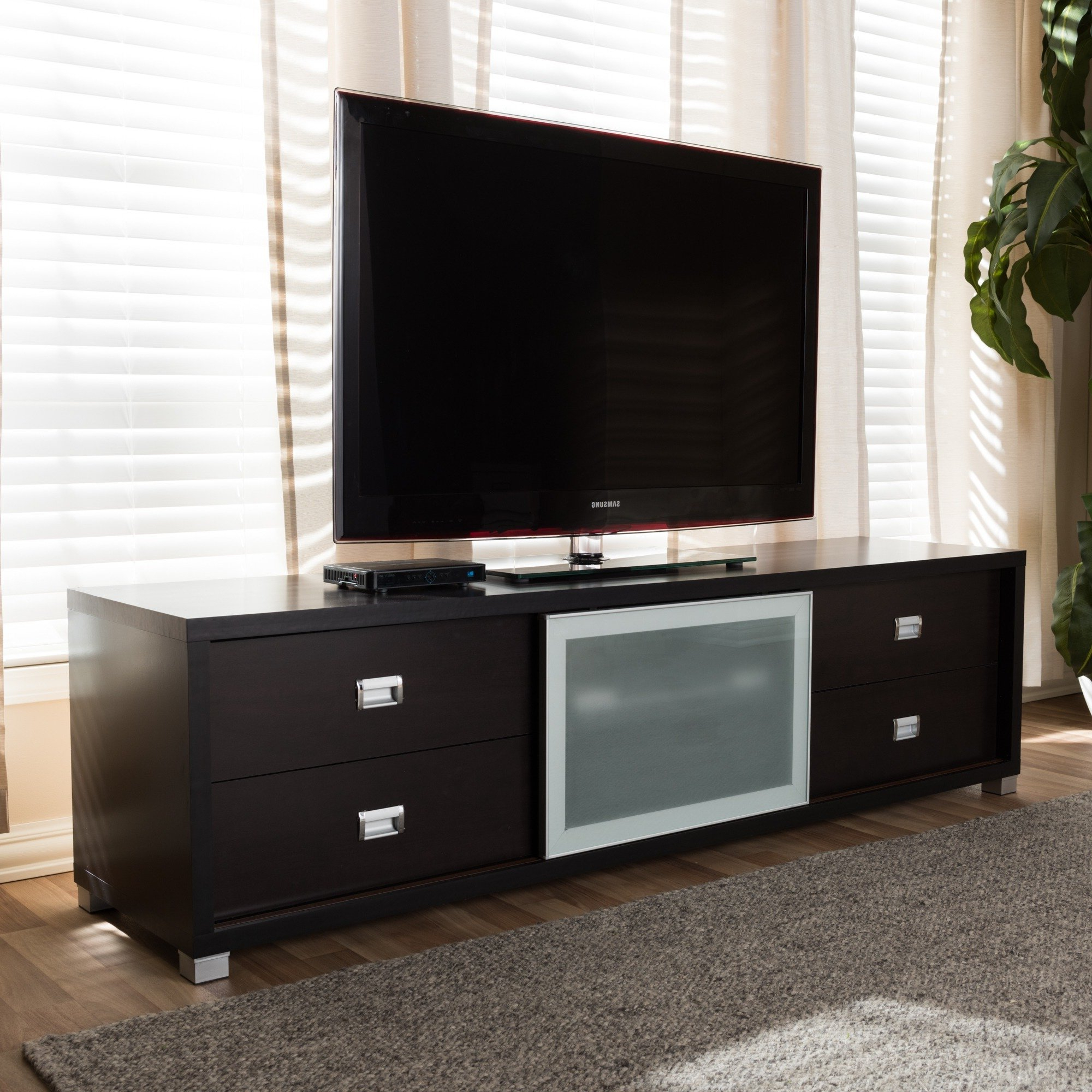 Best And Newest Smoked Glass Tv Stands Inside Shop Botticelli Brown Modern Tv Stand With Frosted Glass Door – Free (View 3 of 20)