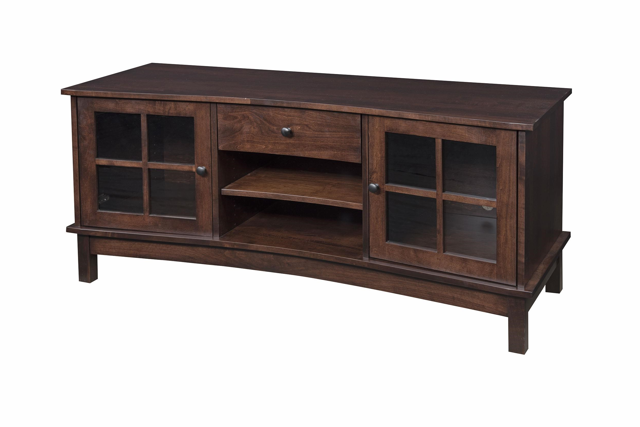 "Best And Newest Solid Oak Tv Stands Throughout Wayside Custom Furniture Solid Wood Tv Stands 60"" Concave Tv Stand (View 3 of 20)"