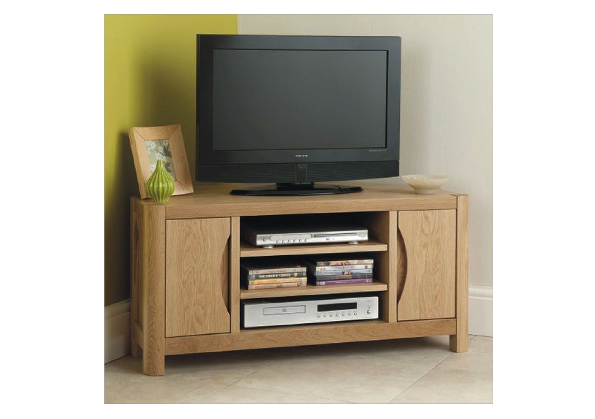 Best And Newest Stockholm Small Corner Tv Unit – American Oak And Oak Veneers With Small Oak Corner Tv Stands (View 3 of 20)