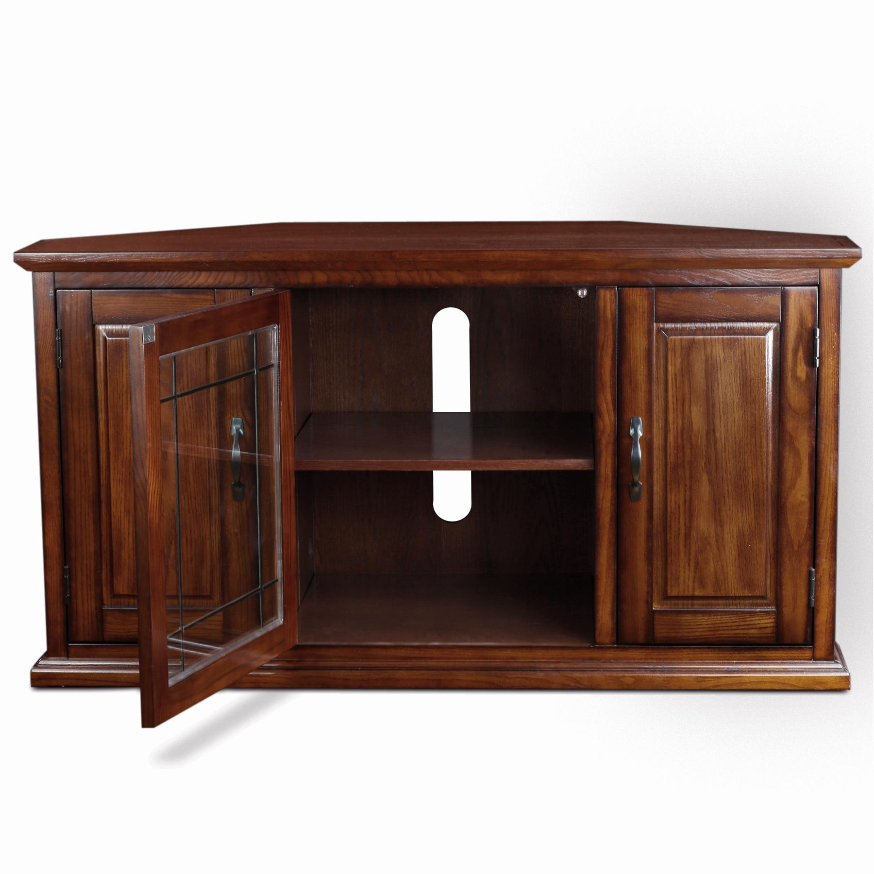 Best And Newest Tv Stands For Corner With Amazon: Leick 80385 Oak Leaded Glass Corner Tv Stand: Kitchen (Gallery 20 of 20)