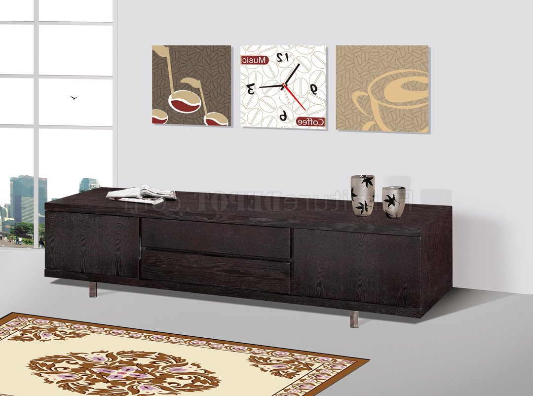 Best And Newest Wenge Finish Modern Entertainment Tv Stand W/metal Legs Within Wenge Tv Cabinets (View 19 of 20)