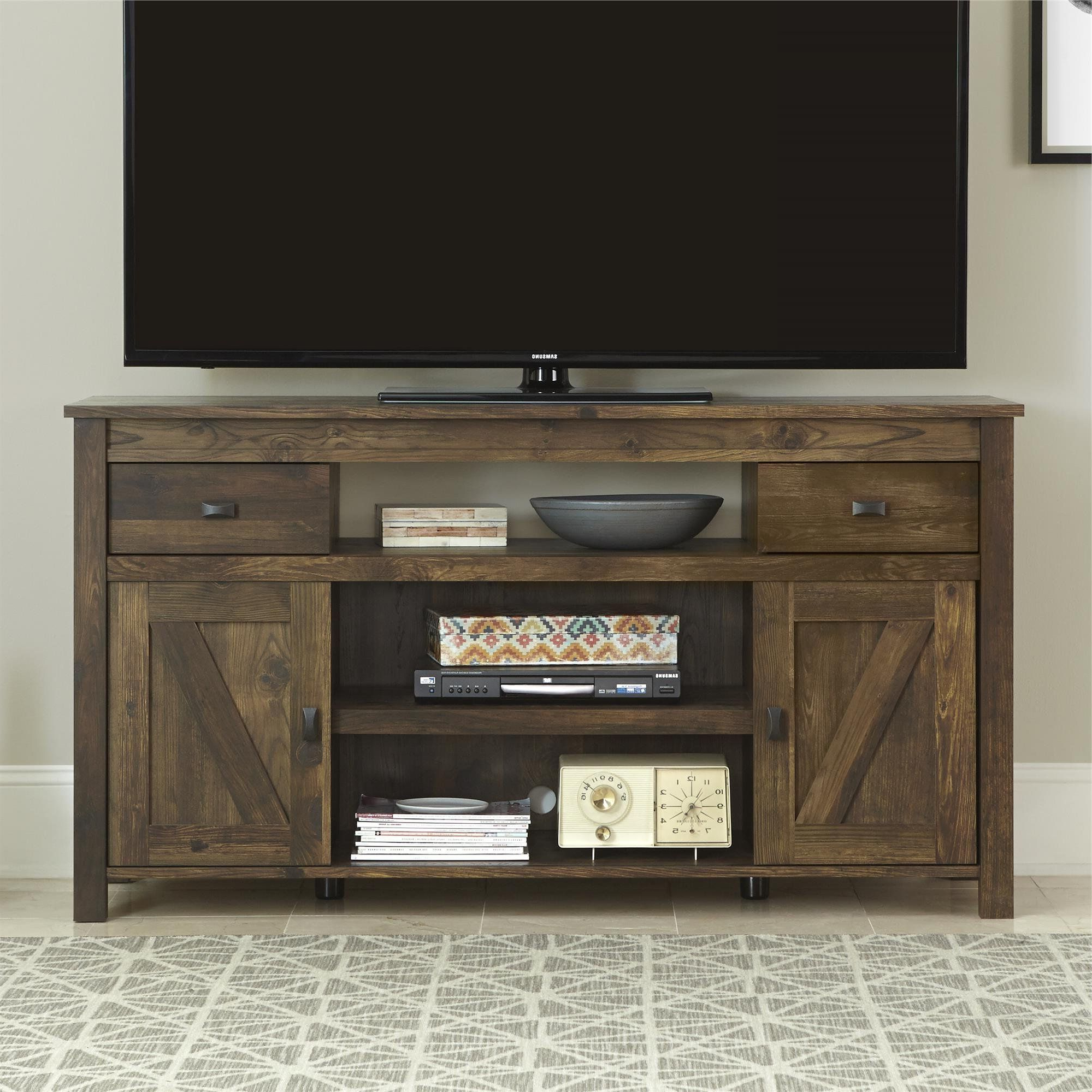 Best And Newest White Rustic Tv Stands Pertaining To Amazon – Ameriwood Altra Farmington Tv Stand, Century Barn Pine (View 16 of 20)