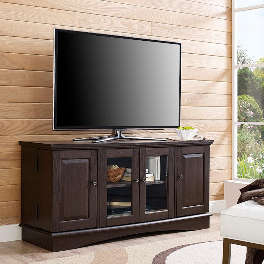 Best And Newest Wooden Tv Stand With Wheels With Regard To Walker Edison Furniture Company 52 In (View 5 of 20)