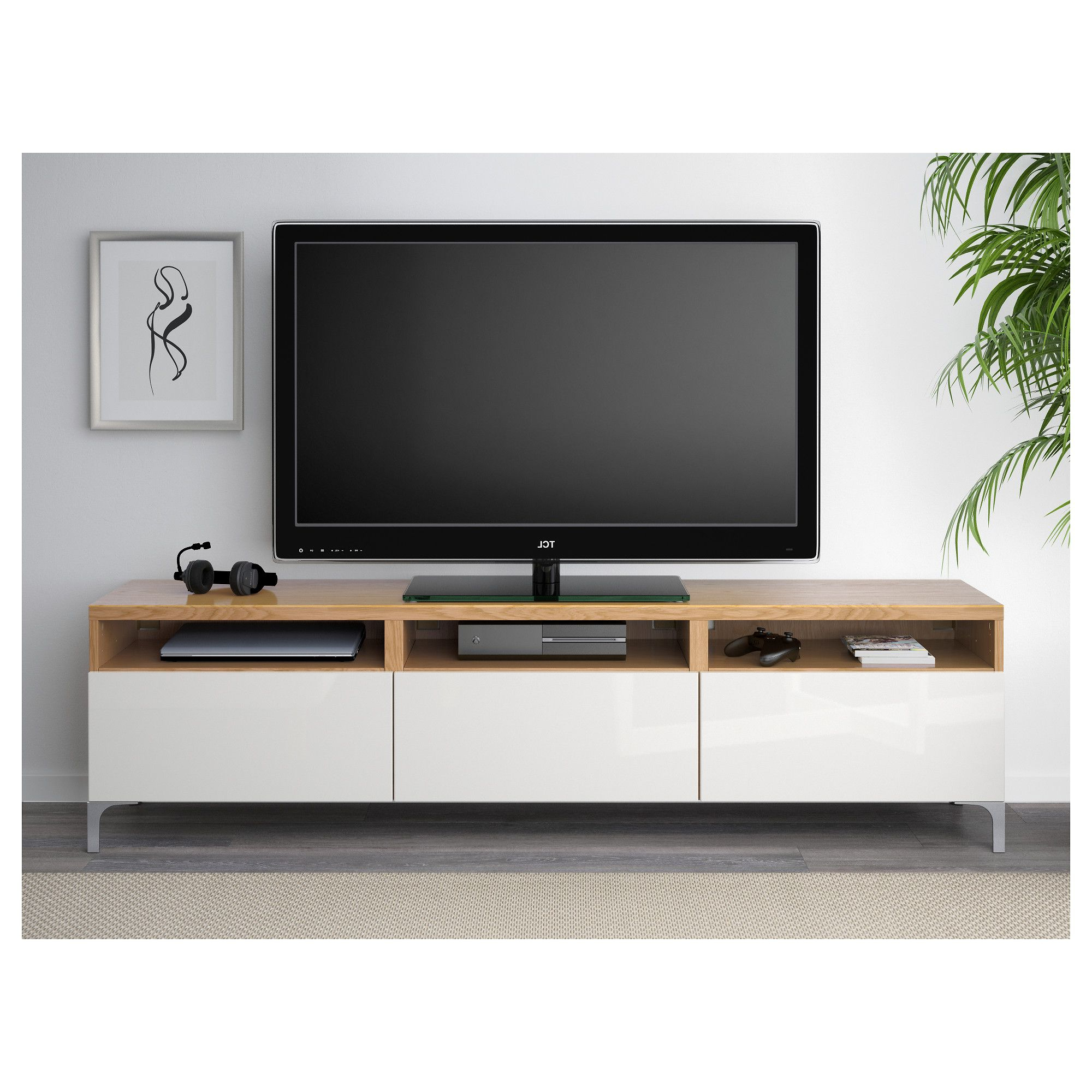 Bestå Tv Bench With Drawers Oak Effect/selsviken High Gloss/white Inside Most Popular Black Gloss Tv Benches (View 9 of 20)