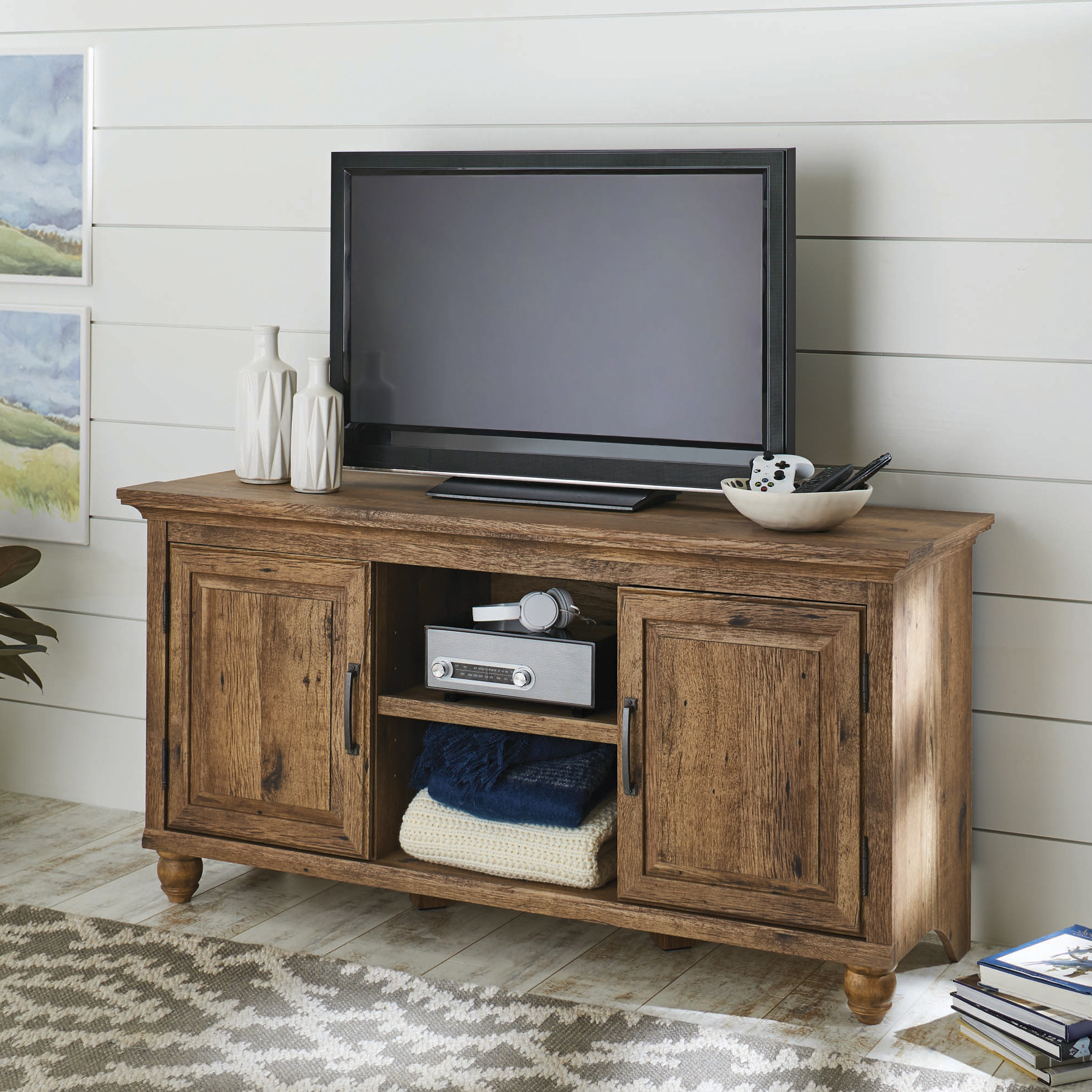 Better Homes And Gardens Crossmill Collection Tv Stand & Console Pertaining To Popular Tv Stands For Tube Tvs (View 12 of 20)