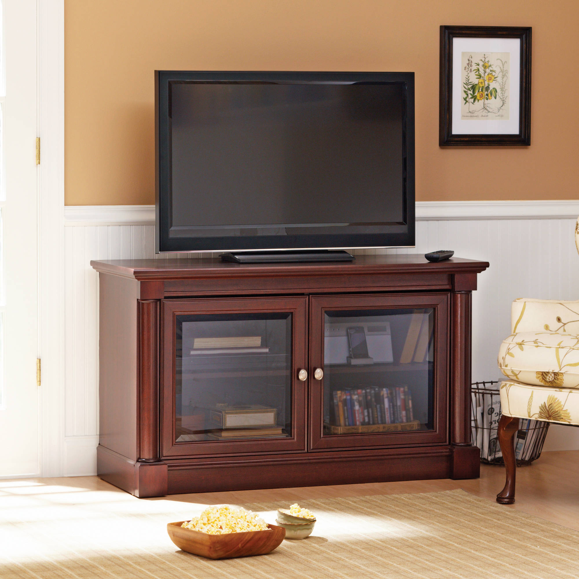 Better Homes & Gardens River Crest Tv Stand For Tvs Up To 42 Inside Most Current Oak Tv Stands With Glass Doors (Gallery 14 of 20)