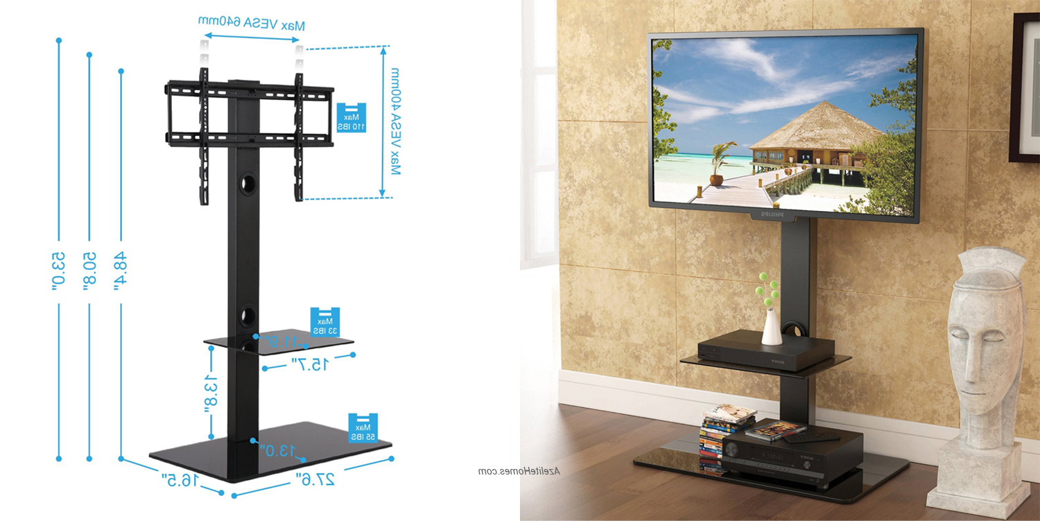 Black Color Tall And Narrow Swivel Tv Stand For 32 Inch Up To 65 Throughout Current Tall Narrow Tv Stands (Gallery 6 of 20)