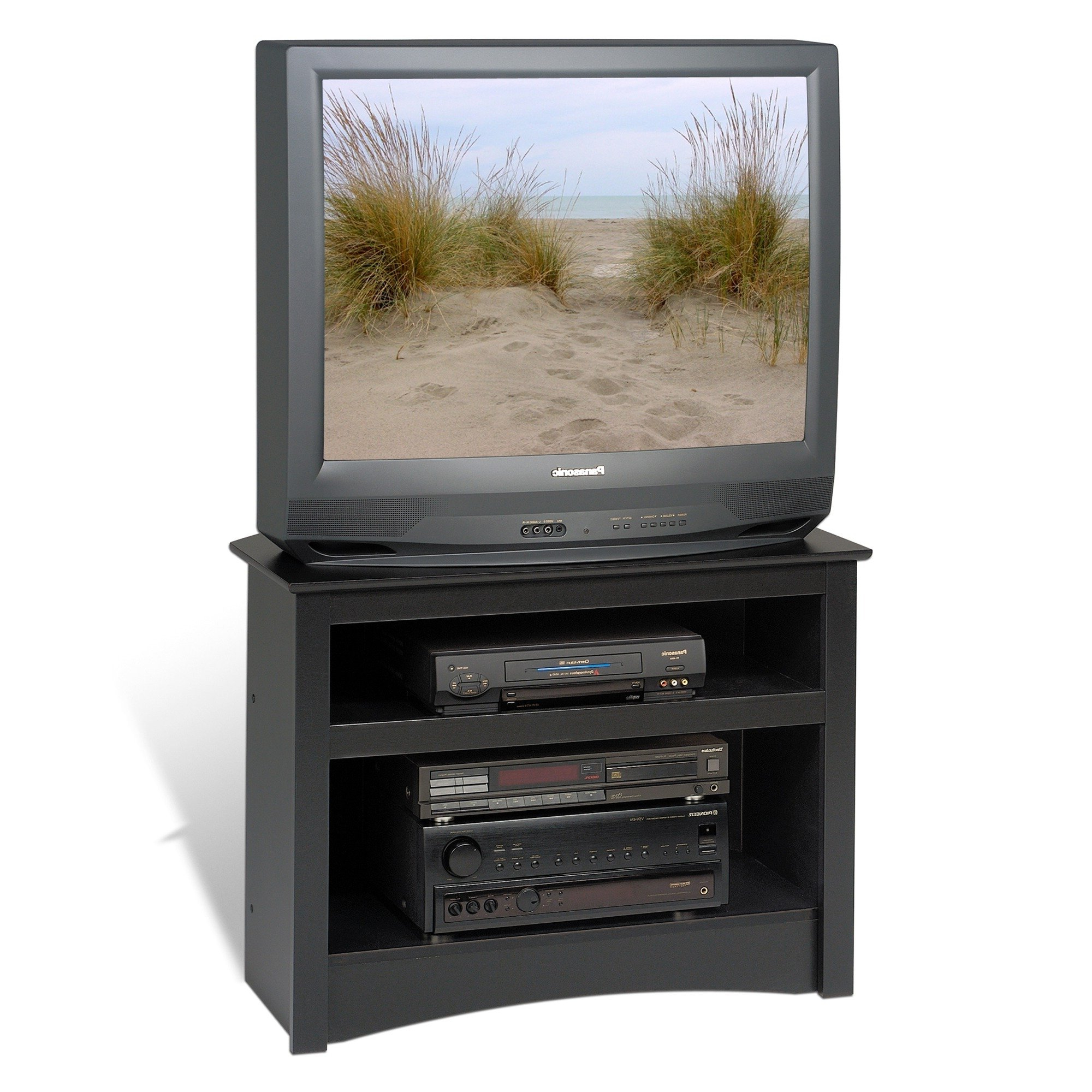 Black Corner Tv Cabinets For Most Up To Date Shop Broadway Black Corner Tv Stand – Free Shipping Today (View 6 of 20)