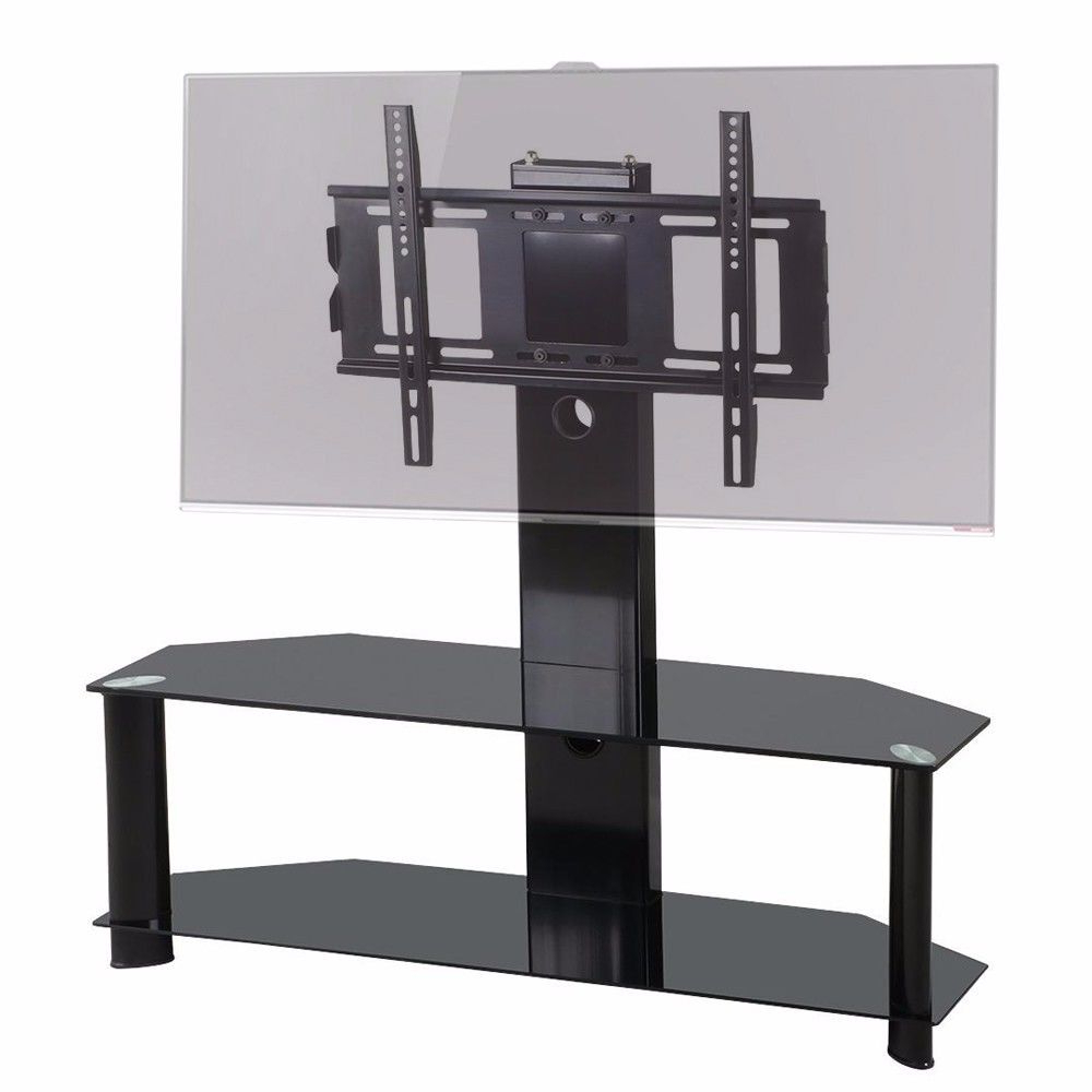 "Black Glass Tv Stand With Bracket For 37"" 60"" Flat Screen Plasma Lcd Intended For Recent Black Glass Tv Stands (View 7 of 20)"