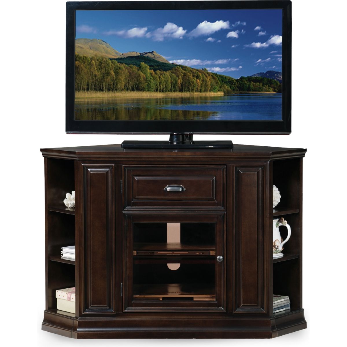 Black Gloss Corner Tv Stand With Recent Leick Furniture 86242 Chocolate Cherry 32 High Corner Tv Stand W (View 10 of 20)